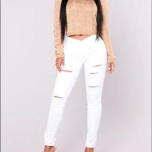 White Distressed Fashion Nova Jeans